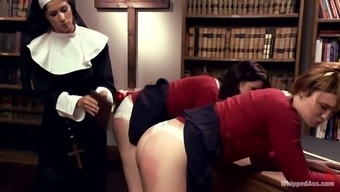 Attractive nun influences two beautiful women at college identical