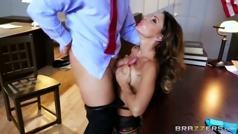 Bosomy dark colored scalp MILF in horny stockings pleases ravenous chief by using solid deep your throat