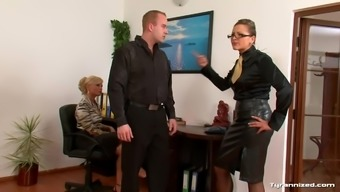 Female in blouses go get a males sub