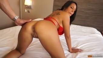 Sexy raven haired MILF with needled on back tours large cock in cowgirl position
