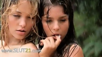 Gorgeous babysitters among the rainfall