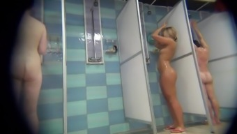 Spying throughout the prosperous brown by using tense body while in the shower.