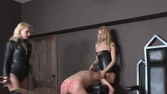 A couple of black mistresses beating mens slave 01