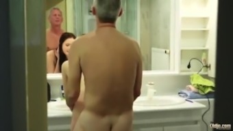 My action best friends by using major tits fucks large daddy gives him titjob and handjob