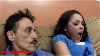 Miniscule oriental youngster tight pussy gets cracked by grimy old one and gets grand father sperm with her mouth
