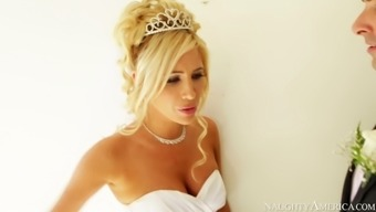 Hot blond future bride Tasha Acess gives blowjob to her fiancé Ryan Driller