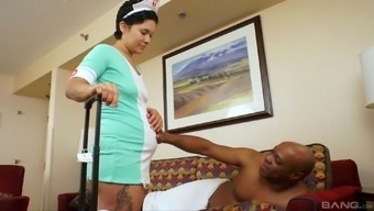 Nurse Angela consists of a delivering chocolate-flavored fucker who you like her clit