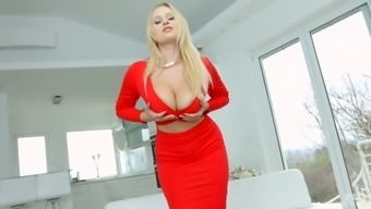 Entrance watering blond Angel Wicky rides a cock and supports her clit