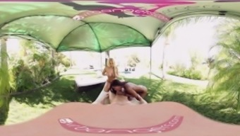 VR Bangers - [360°VR] Alix and Nadia blow and ride white colored cock through pool