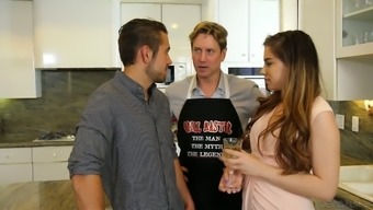 Nasty date Bobbi Dylan barbs on top of two bisexual guys in the cooking area