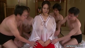 Big tits Japanese people hoe Airi Vaje serves a number of dudes simultaneously