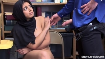 Security guard talked busty Ella Knox into fucking with him in the office