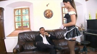 Perverted big and attractive maid gets her anus sternly nailed by lewd provide